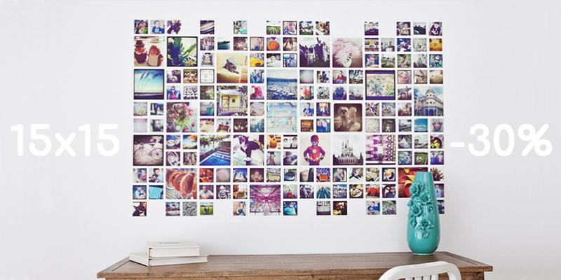 квадратные фотографии на стене над столом